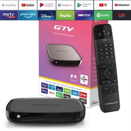 Formuler GTV 4K UHD IPTV Android 9 Player H.265 2GB RAM 16GB Flash Gigabit 5GHz Wlan, Schwar