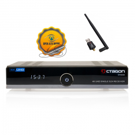 Octagon SF8008 4K HDR UHD HEVC E2 Linux DVB-S2X Single Sat Receiver 150Mbit Wlan