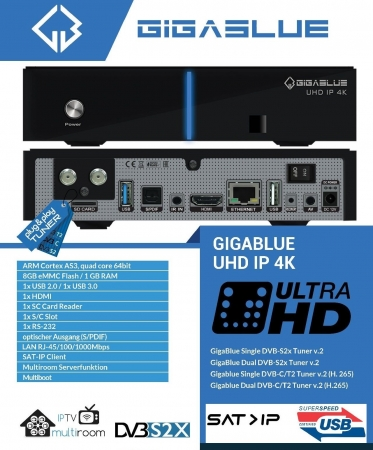 GigaBlue UHD IP 4K Single DVB-S2X Tuner Multiroom Ultra HD IP Box Receiver