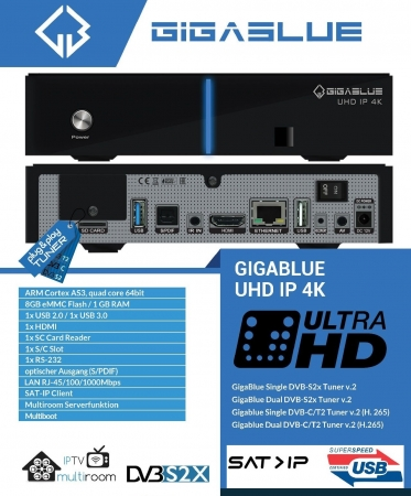 GigaBlue UHD IP 4K USB HDMI SD Karte Multiroom Ultra HD IP Box Receiver Schwarz